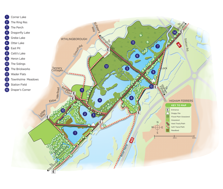 Map of Irthlingborough Lakes and Meadows